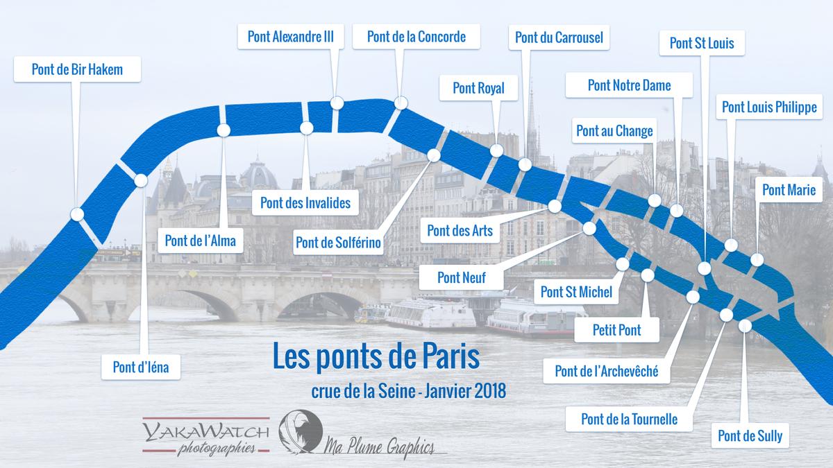 Découvrir en images les ponts de Paris lors de la crue de la Seine